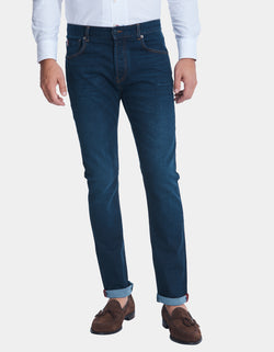 STRETCH SLIM STRAIGHT FIT 5 POCKET RINSED DENIM JEANS