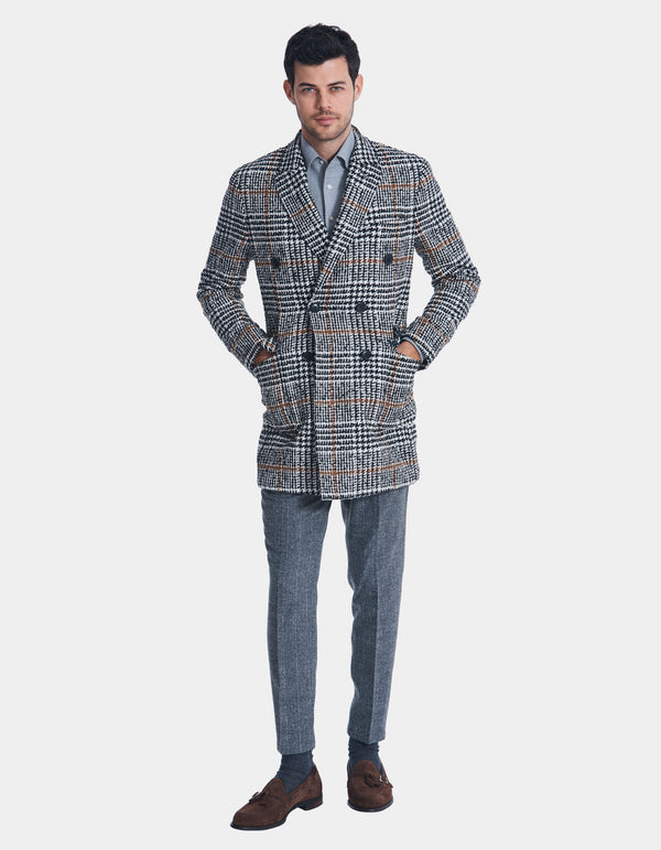 GLEN PLAID DOUBLE BREASTED WOOL OVERCOAT