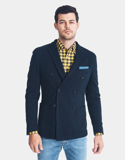 MC LELLAN COTTON KNIT DOUBLE BREASTED BLAZER