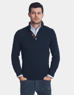 CABLE CASHMERE BUTTON UP SWEATER