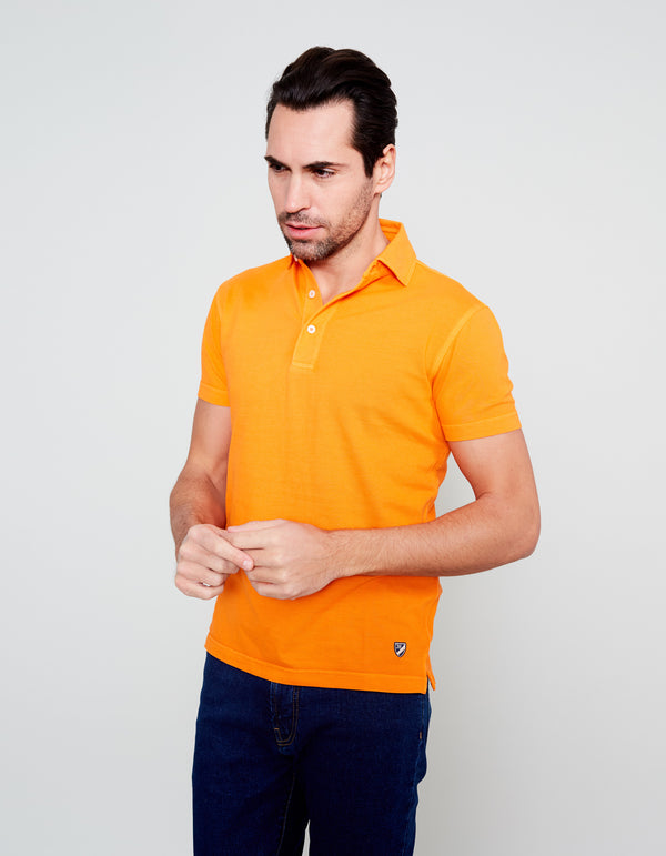 ORANGE SUPIMA COTTON POLO