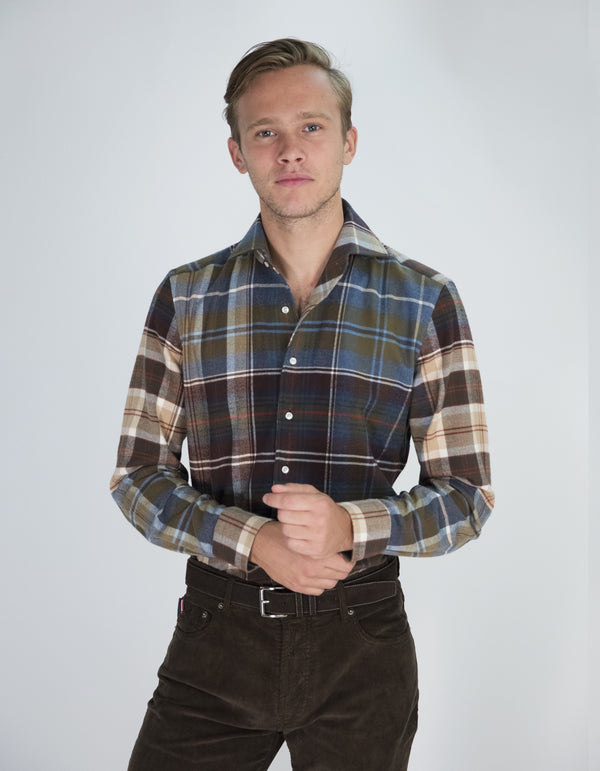 LUXURY FLANNEL PLAID ONE PIECE SPREAD COLAR SHIRT