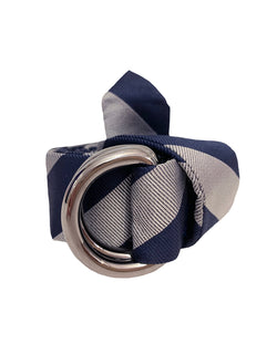 ALAN STRIPED WOVEN SILK REPP BELT V-POINTED END