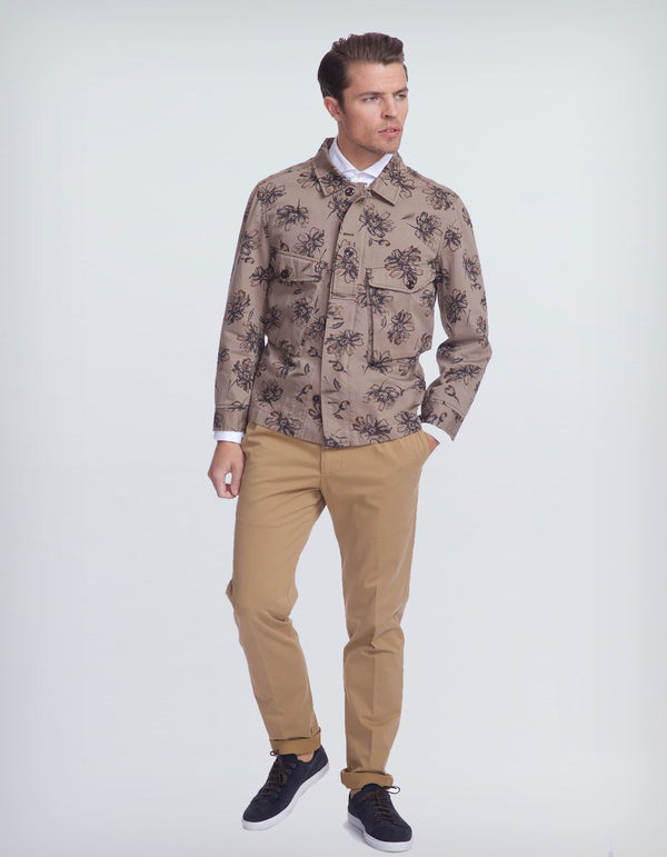 CANOPY FLORAL PRINT MILITARY COTTON JACKET