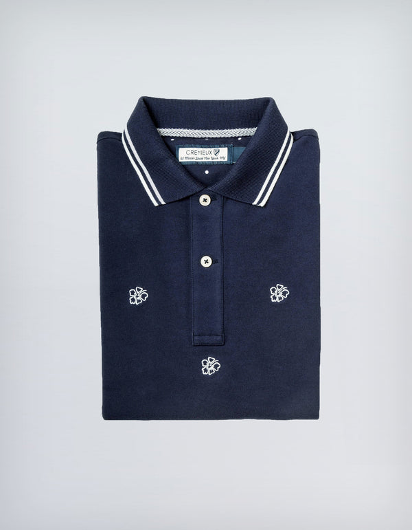ROYCE HAWAIIAN FLOWER EMBROIDERED NAVY POLO