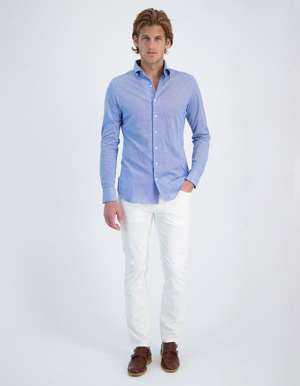 CUBA HANDMADE PIQUE KNIT BUTTON DOWN COLLAR SHIRT