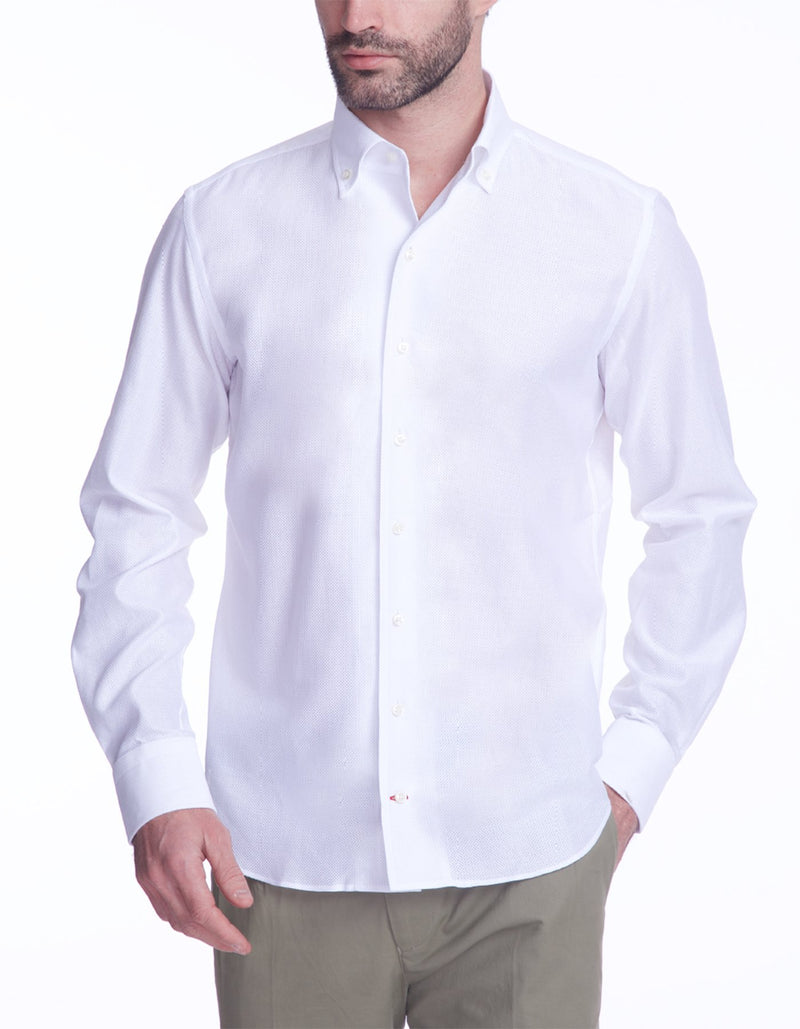 CUBA HANDMADE PIQUE KNIT ONE PIECE BUTTON DOWN COLLAR SHIRT