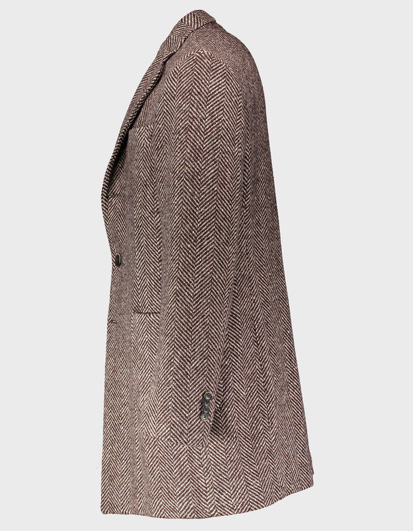 BERRA VIRGIN WOOL HERRINGBONE TWEED OVERCOAT