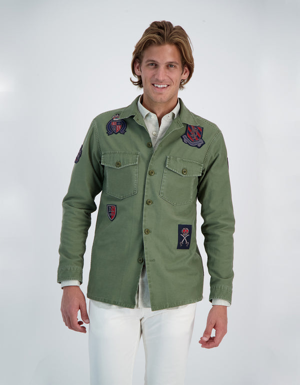 CANOPY SATEEN COTTON MILITARY BULLION PATCH SHIRT JACKET