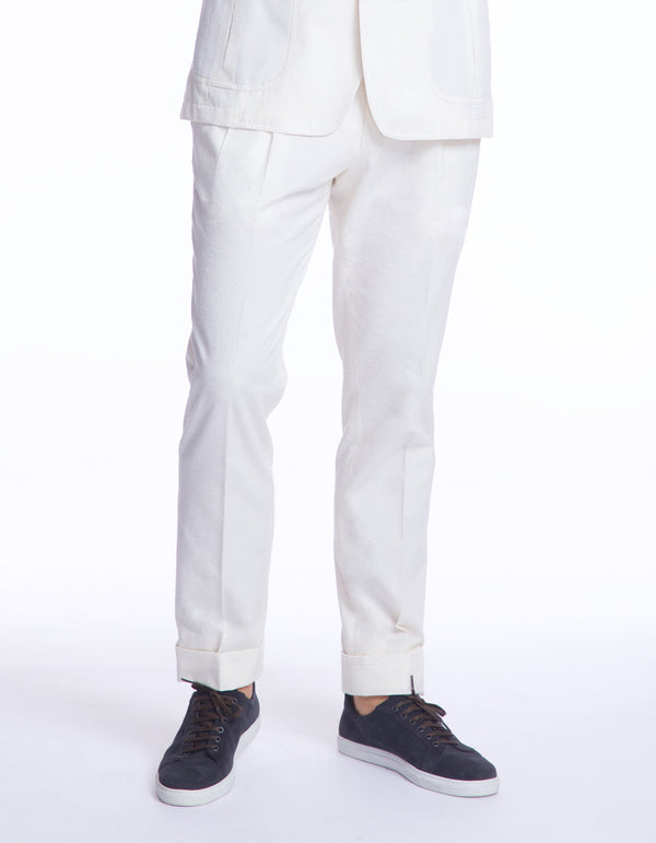 BOAT COTTON SLUB OFF WHITE PANT