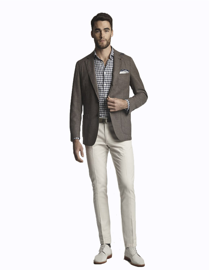 FREETIME WOOL HOPSACK BLUE OR GREY BLAZER