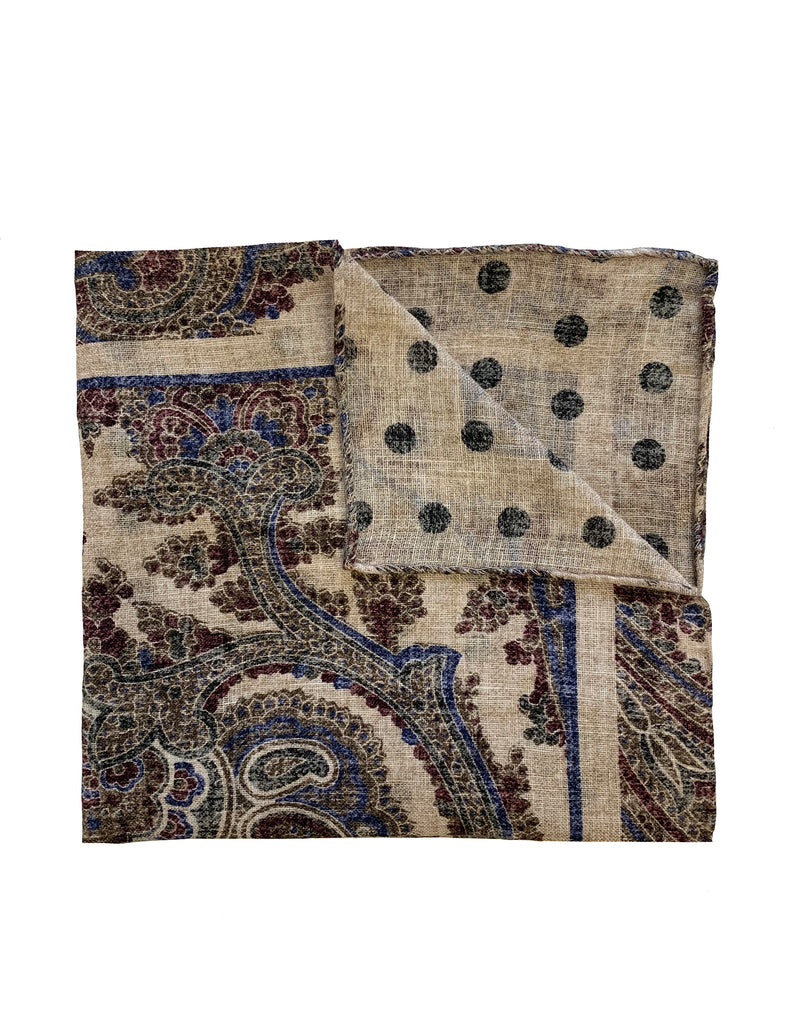 FAZZOLETTO DOUBLE SIDED LINEN DOT & PAISLEY POCKET SQUARE