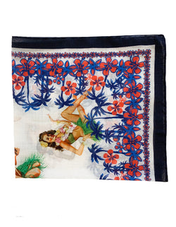 FAZZOLETTO COTTON VOILE PINUP GIRLS & FLOWER POCKET SQUARE
