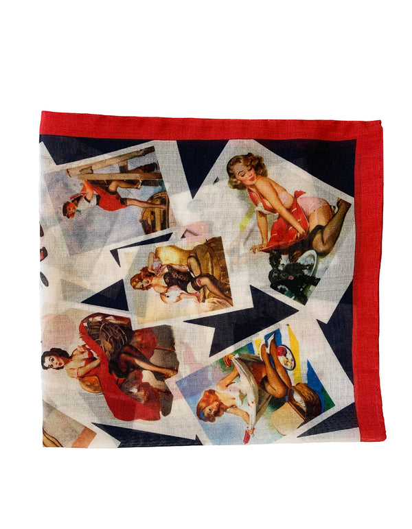 FAZZOLETTO COTTON VOILE PINUP GIRLS POLAROIDS POCKET SQUARE