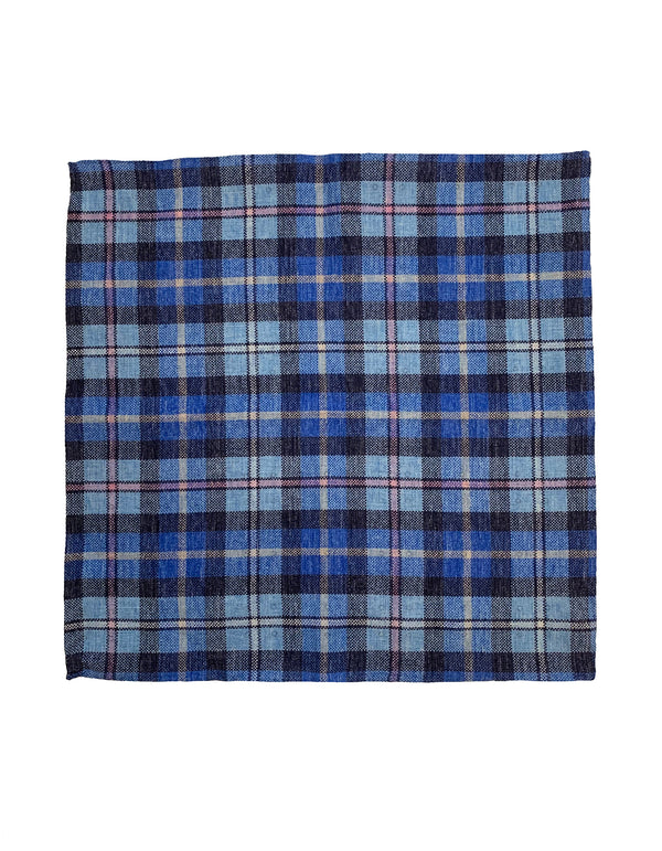 FAZZOLETTO DOUBLE SIDED LINEN POLKA DOT & PLAID POCKET SQUARE