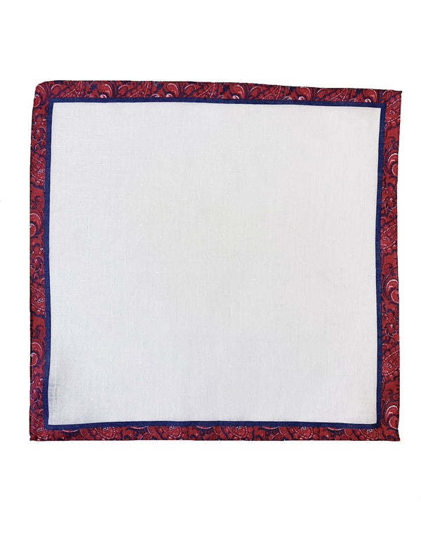 FAZZOLETTO LINEN POCKET SQUARE COLOR PAISLEY BORDER