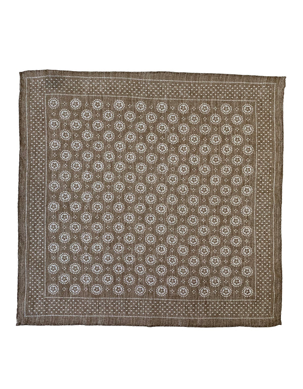 FAZZOLETTO ALL OVER PRINT FLOWER LINEN POCKET SQUARE