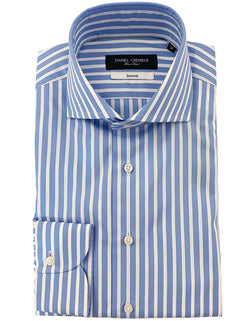 BOND POPLIN SPREAD COLLAR STRIPE SKY SHIRT