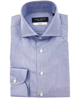 BOND COTTON END ON END SPREAD COLLAR BLUE SHIRT