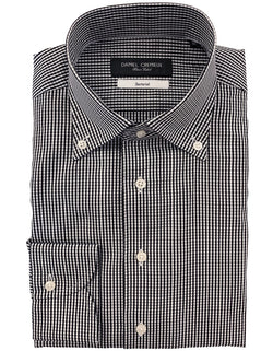 DOM POPLIN GINGHAM BLACK 100% COTTON SHIRT