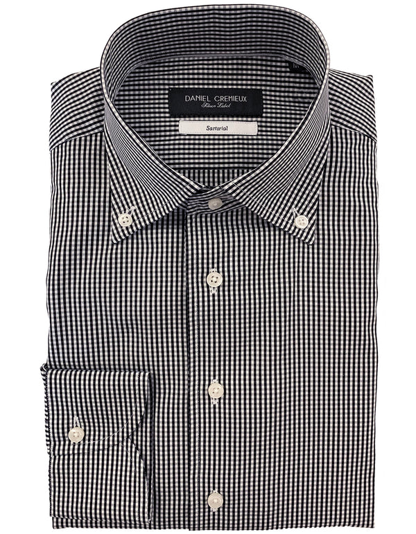 DOM POPLIN GINGHAM BLACK SHIRT