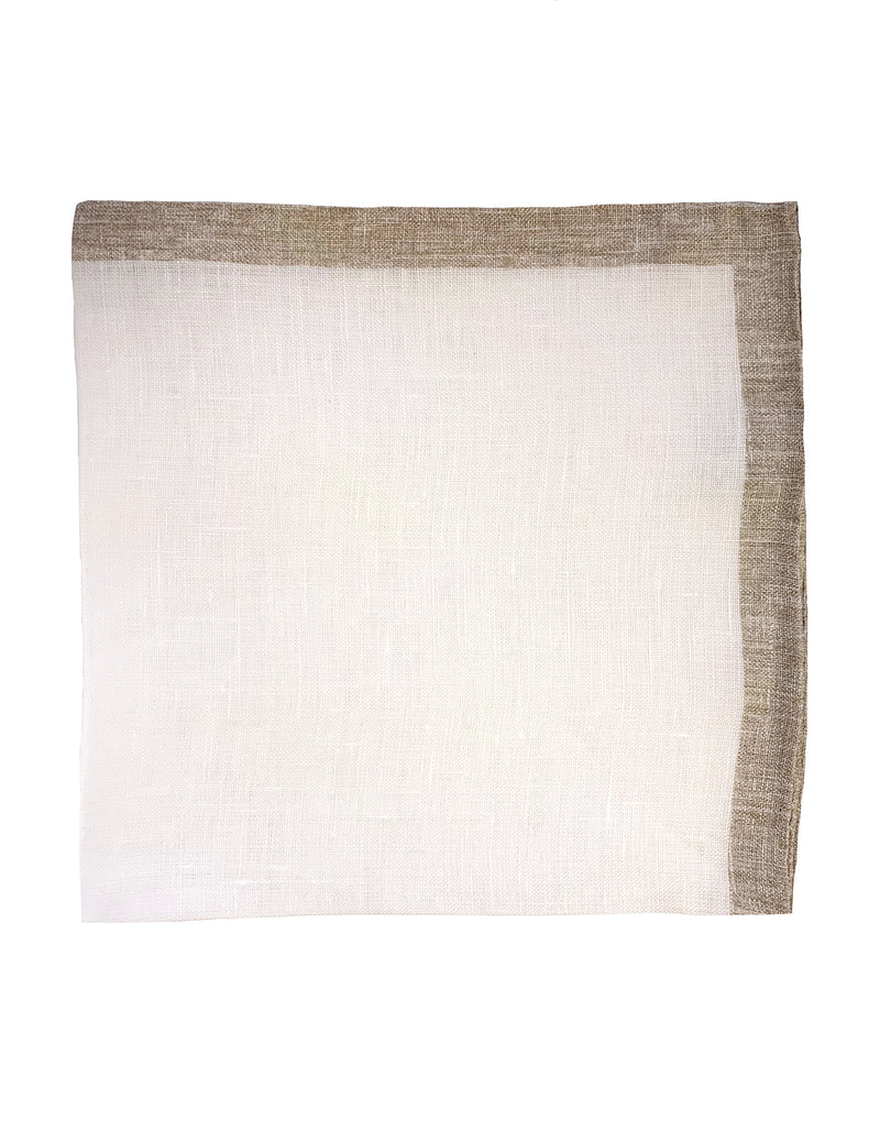 FAZZOLETTO LINEN POCKET SQUARE HAND-ROLLED BORDER