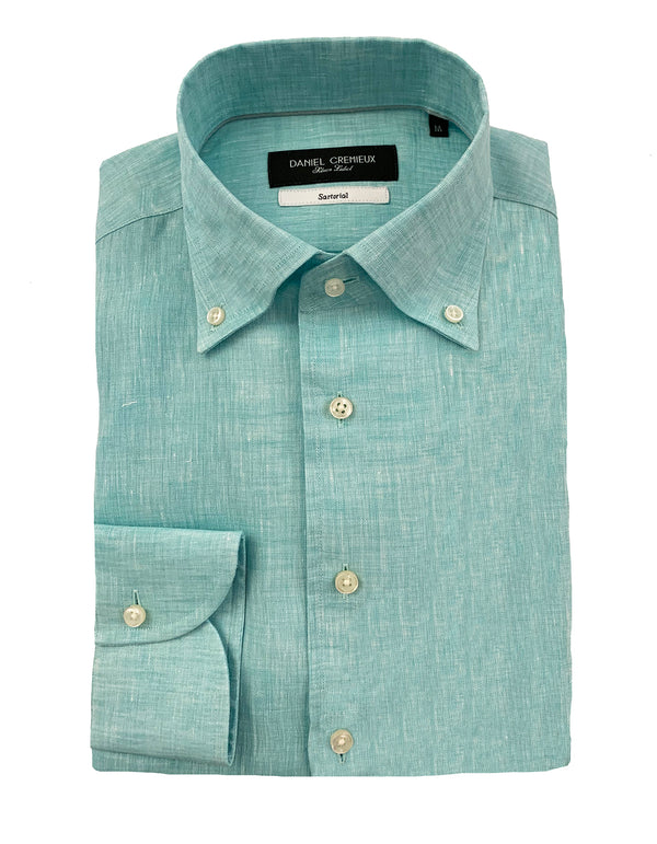 LINEN ONE-PIECE-BUTTON DOWN COLLAR SHIRT