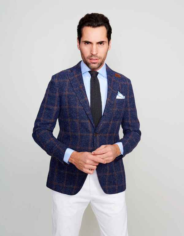 LINEN BLEND BOUCLE ORANGE WINDOWPANE BLAZER