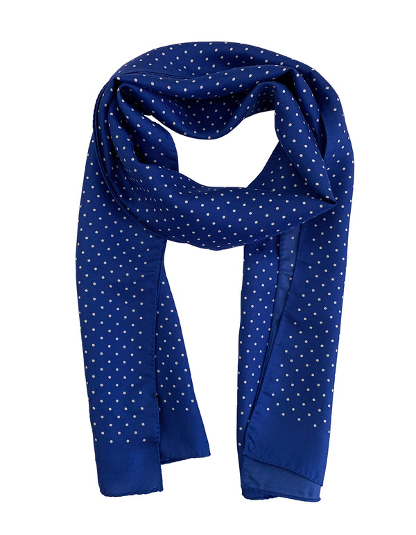 SARDEGNA SILK POLKA DOT PRINT LONG RECTANGULAR SCARF