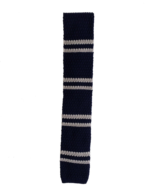 COMO WOOL DOUBLE STRIPE KNIT TWO COLORS TIE