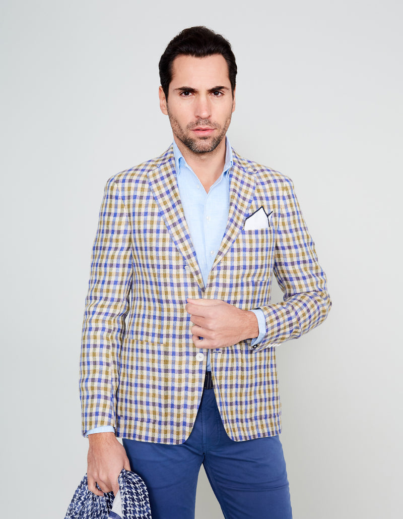 BLUE OLIVE LINEN GINGHAM PLAID BLAZER