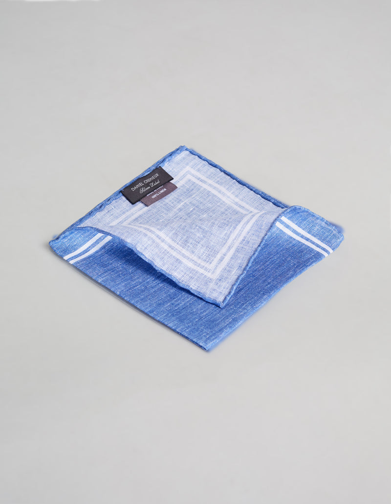 LINEN DOUBLE BORDER PRINTED POCKET SQUARE