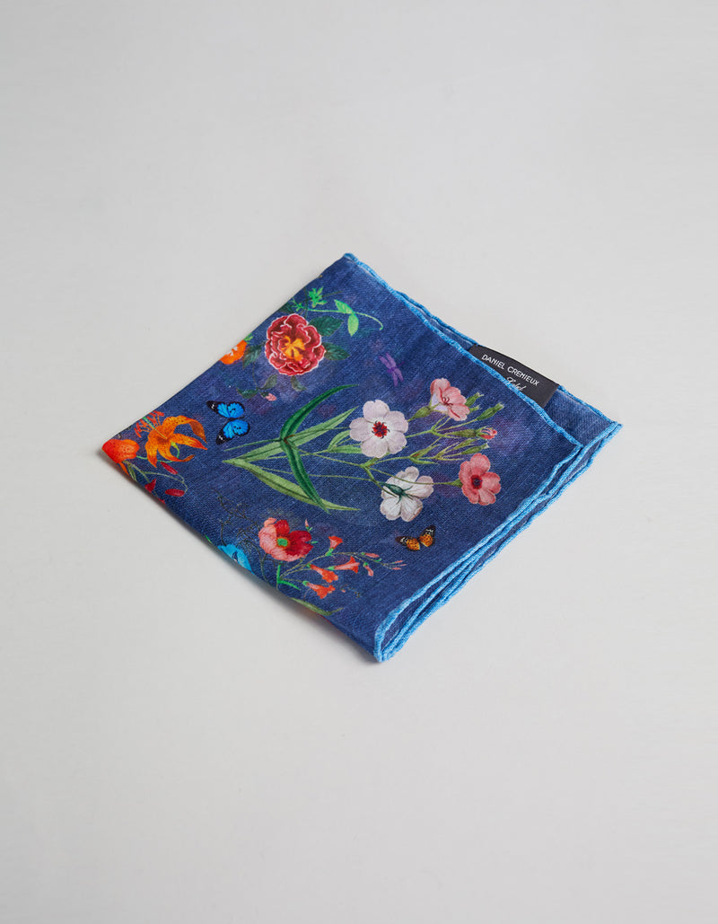 FLOWER PRINTED POCKET SQUARE