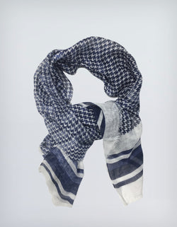 BRUNATE LINEN LARGE HERRINGBONE PRINTED SCARF