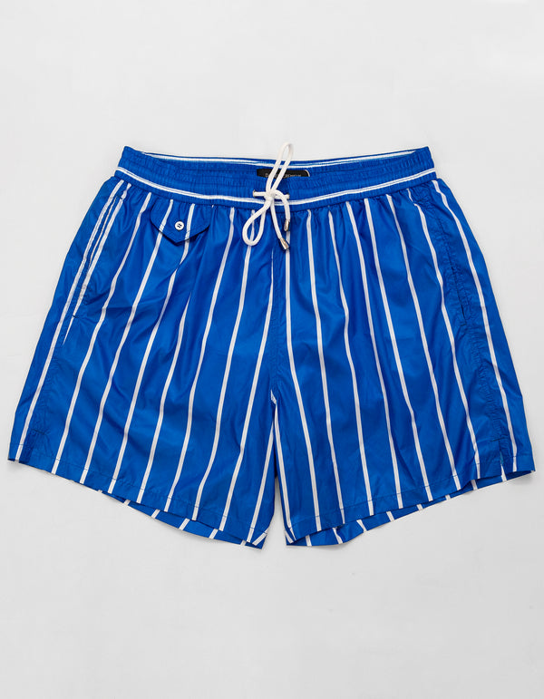 ROYAL BLUE PINSTRIPES SWIM SHORTS