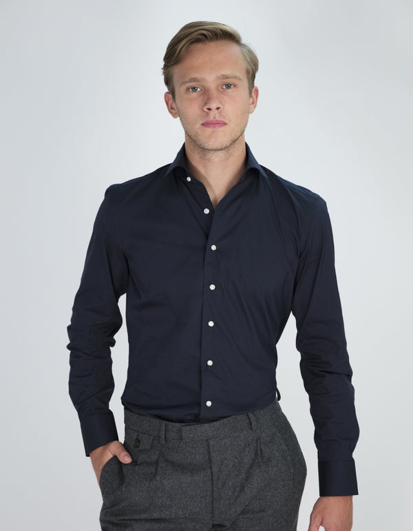 STRETCH POPLIN SOLID SPREAD COLLAR SHIRT