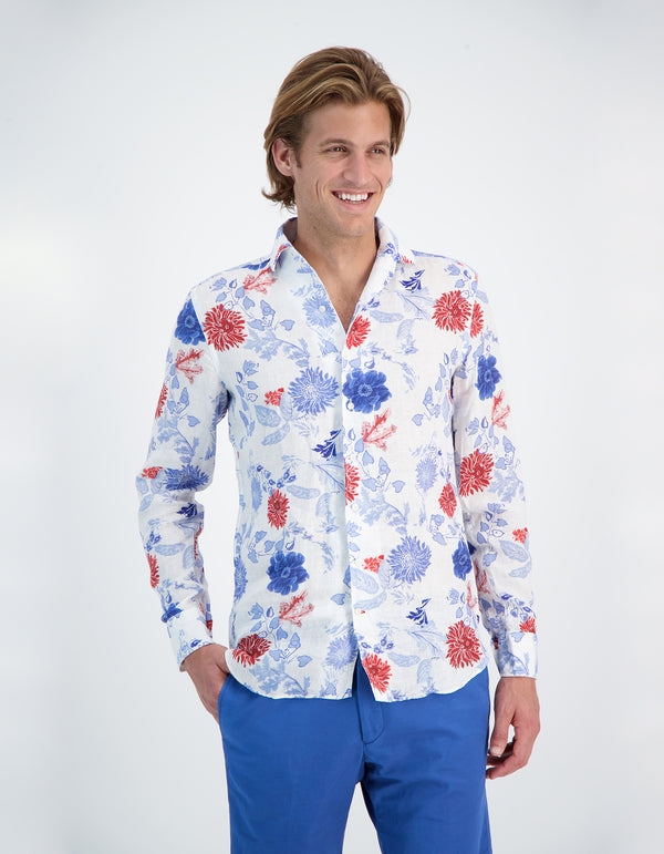 LAPO LUXURY LINEN FLOWER PRINT SHIRT