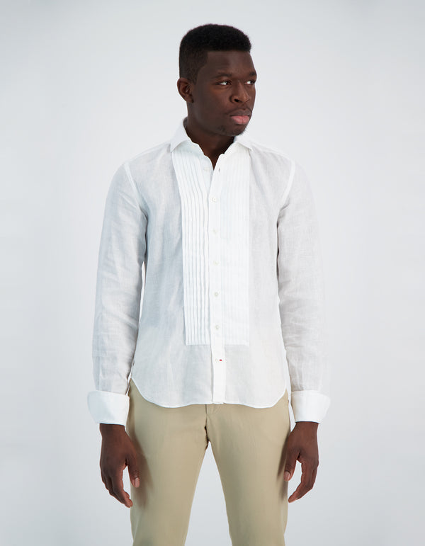 BOND LUXURY SOFT LINEN SPREAD COLLAR PLEATED BIB SHIRT