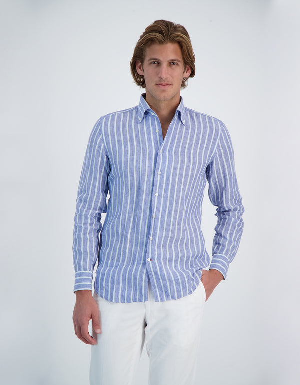 MONCEAU LUXURY SOFT LINEN MADRAS STRIPE ONE PIECE BUTTON DOWN COLLAR SHIRT