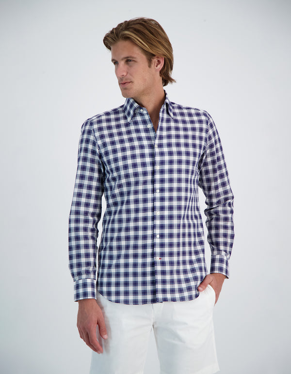DOBBY CHECK BUTTON DOWN COLLAR SHIRT