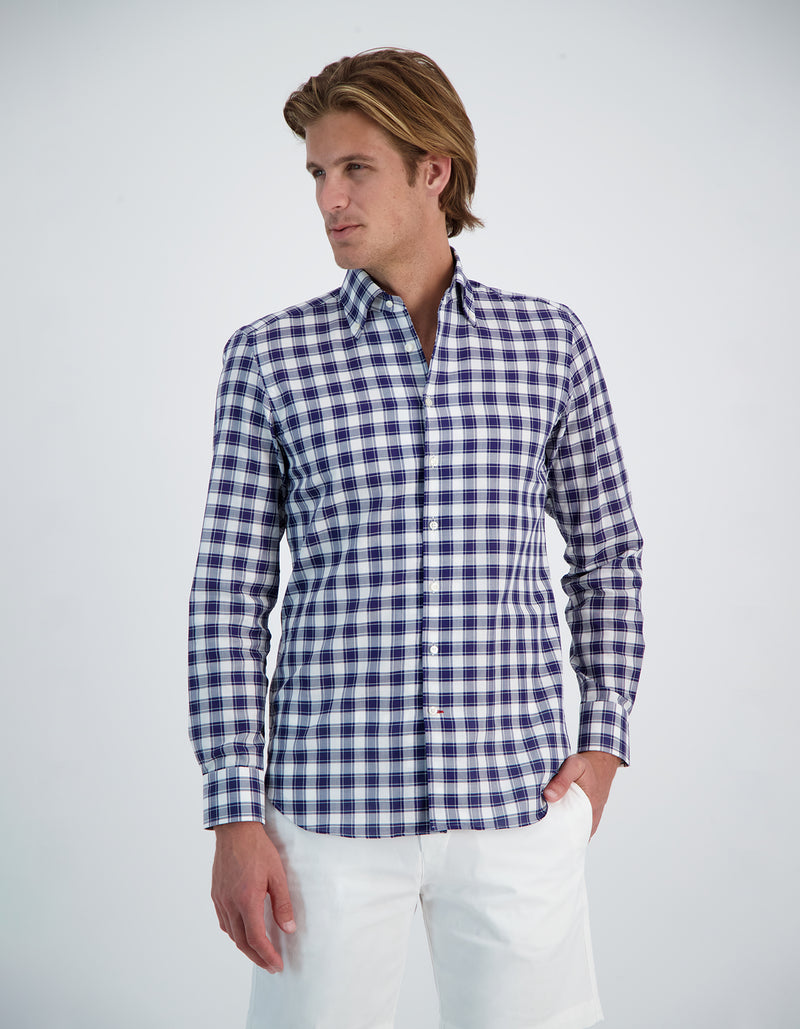MONCEAU LUXURY DOBBY CHECK ONE PIECE BUTTON DOWN COLLAR SHIRT