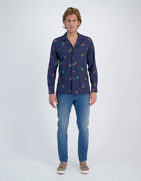 RIVIERA LUXURY SOFT VOILE KING PARROT PRINT CAMP COLLAR SHIRT