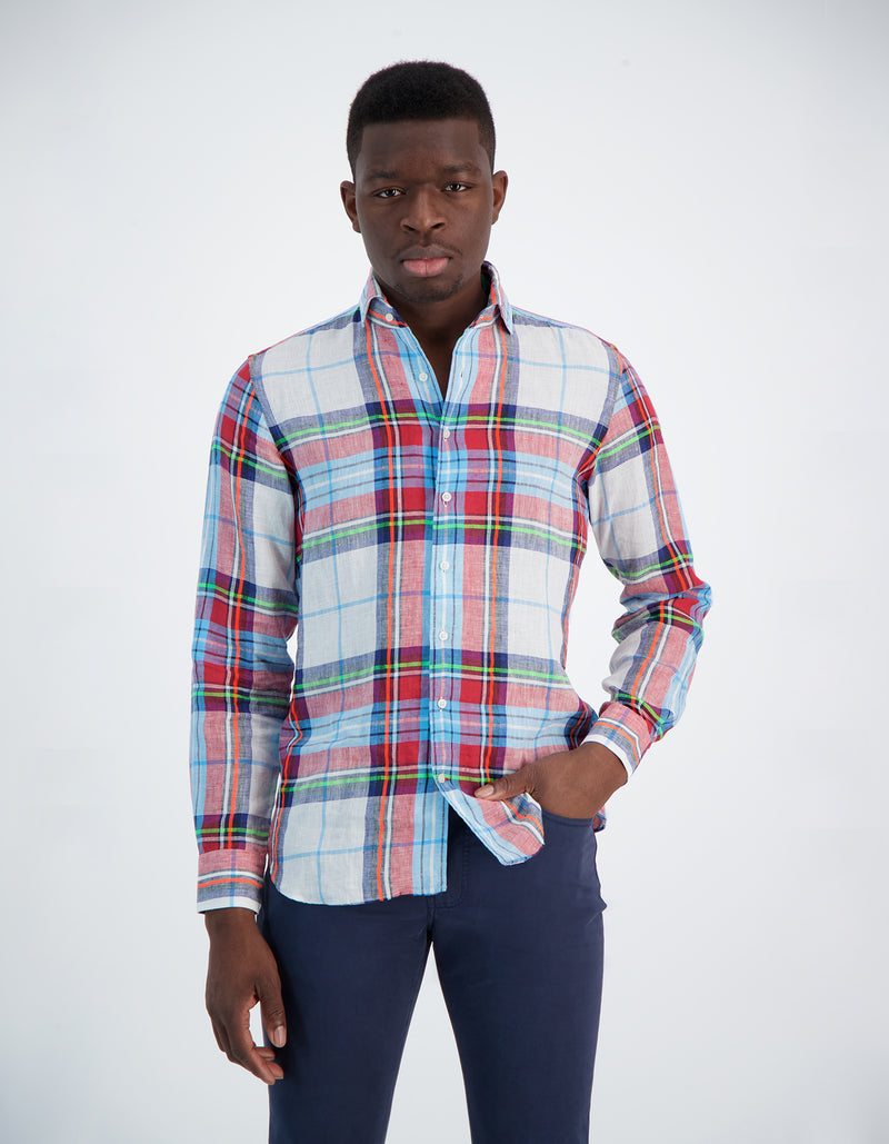LAPO LUXURY LINEN FLUO PLAID ONE PIECE SPREAD COLLAR SHIRT