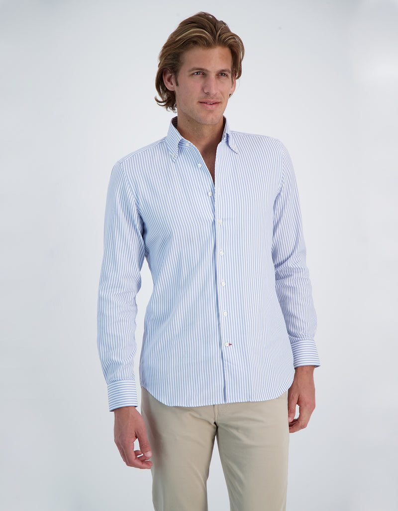 DOBBY STRIPE BUTTON DOWN COLLAR SHIRT
