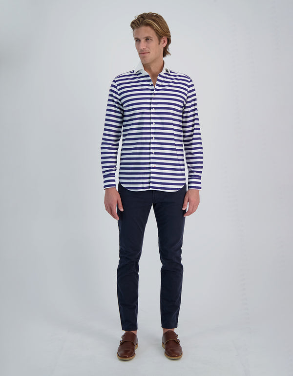 SOFT POPLIN RUGBY STRIPE SPREAD COLLAR SHIRT