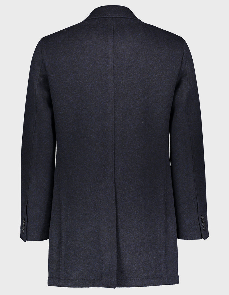 BERRA LORO PIANA VIRGIN WOOL DOUBLE FACE NAVY OVERCOAT