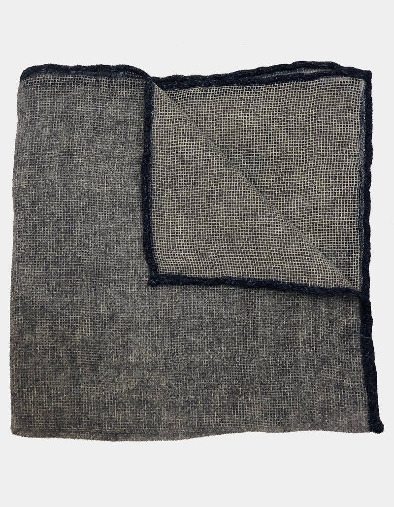 FAZZOLETTO CASHMERE FLANNEL SOLID CONTRAST FRAME HANDROLLED POCKET SQUARE