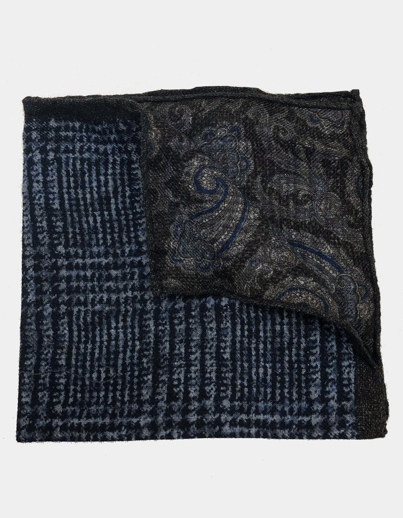 FAZZOLETTO WOOL FLANNEL DOUBLE SIDED GLEN CHECK PAISLEY PRINT POCKET SQUARE