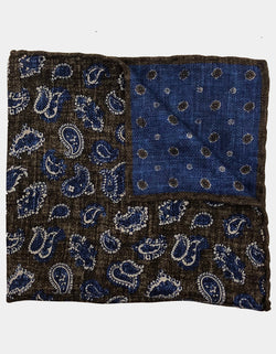 FAZZOLETTO SILK WOOL BLEND DOUBLE SIDED PAISLEY DOTS HANDROLLED POCKET SQUARE