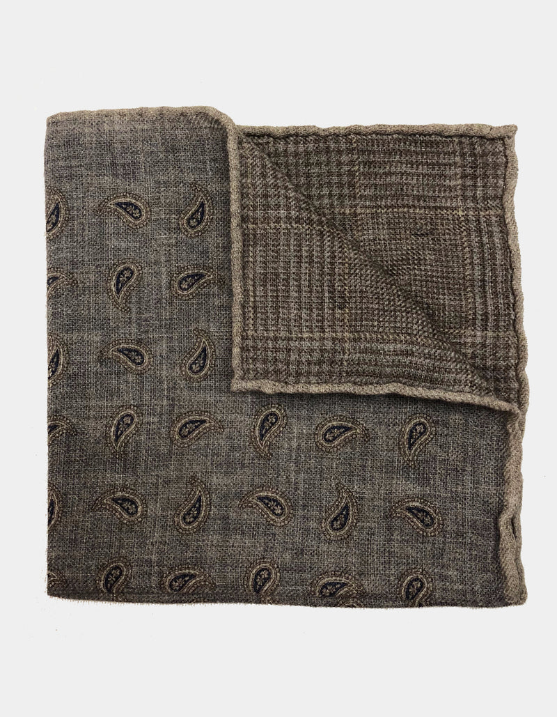 FAZZOLETTO WOOL FLANNEL DOUBLE SIDED GLEN CHECK PAISLEY POCKET SQUARE